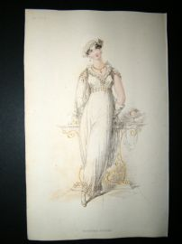 Ackermann 1813 Hand Col Regency Fashion Print. Evening Dress 8-11